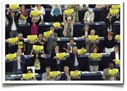 Los diputados muestran su rechazo al ACTA en el Parlamento Europeo. (Foto: Enriquedans.com)