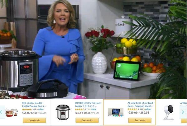 Captura de pantalla que muestra uno de los programas propios de Amazon, con los productos en la parte inferior.