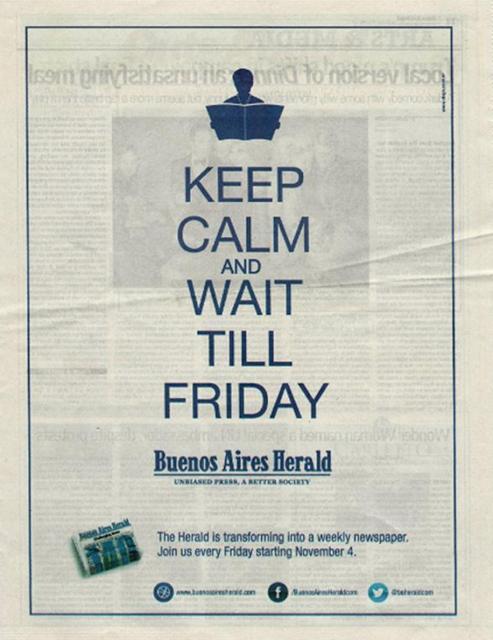 El 'Buenos Aires Herald' pasará a publicarse en papel únicamente los viernes