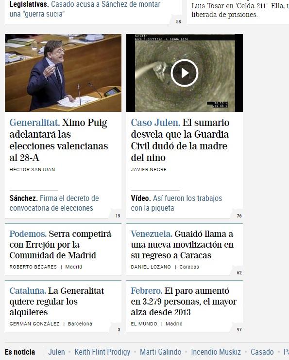 La web de El Mundo incluye noticias en módulos más pequeños tras su rediseño.