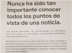 Imagen del anuncio publicado en prensa por Google. / El Mundo.