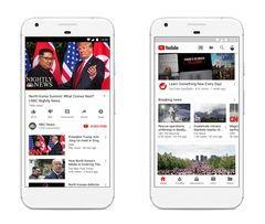 Capturas que muestran algunas de las nuevas funcionalidades de YouTube para noticias.