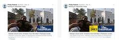 En la imagen, a la derecha, se observa el añadido con la fecha que hace 'The Guardian' a sus noticias antiguas cuando se comparten en redes sociales.