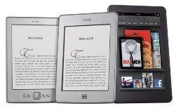 Varios Kindle de amazon, líder en ventas de e-reader.