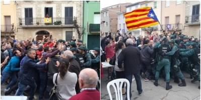 A la izquierda, imagen original tomada el 1 de octubre. A la derecha, fotomontaje anónimo difundido en redes sociales.