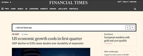 'Financial Times' se pone serio con los bloqueadores publicitarios