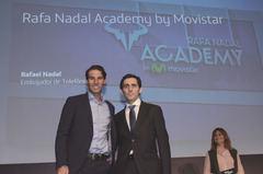 De izquierda a derecha, Rafael Nadal, tenista y embajador de Telefónica, y José María Álvarez-Pallete, presidente ejecutivo de Telefónica.