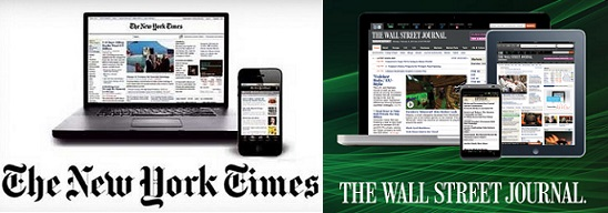 Distinto ritmo de crecimiento de suscriptores de 'New York Times' y 'Wall Street Journal'