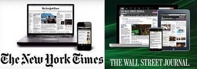 Distinto ritmo de crecimiento de suscriptores de 'New York Times' y 'Wall Street Journal'
