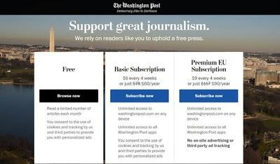 'The Washington Post' levanta un muro de pago contra el GDPR
